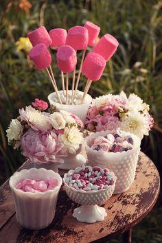 Milk Glass~blush pink wedding // j larose studios Candy Table, Candy Buffet, Dessert Table, Wedding Candy, Wedding Desserts, Buffet Wedding, Love Is Sweet, Sweet 16, Cake Pops