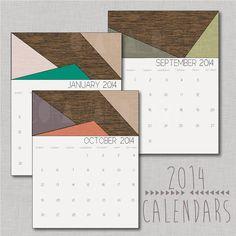 January- December 2014 color block calendar printables, 12 instant PNG sheets, 300 dpi resolution on Etsy, $2.49