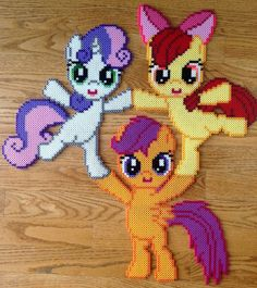 Cutie Mark Crusaders - My Little Pony perler beads by OddishPonyGirl