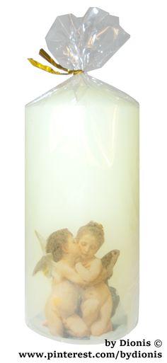 Свеча колонна 6х12 см. Ангелы #candles #kerzen #bougie #candela #velas #lampion #angel #bydionis #decor #bydionis