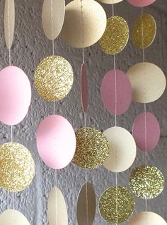 Garland in Cream Blush and Gold Double-Sided Bridal Shower Baby Shower Birthday Decor Pink Gold Birthday Pink Gold Party Pink Gold Party, Pink Gold Birthday, Gold Birthday Party, Girl First Birthday, Birthday Party Decorations, Baby Shower Decorations, Baby Birthday, 21st Birthday, Birthday Ideas