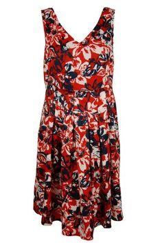 Jones New York Women's Sleeveless Pleated V-Neck Dress, Poppy Red/Multi, 12