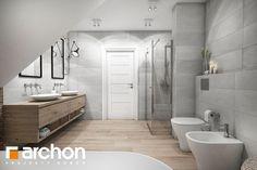 Dom w śliwach - zdjęcie od ArchonHome Attic Bathroom, Bathroom Pictures, Wood Bathroom, Bathroom Layout, Bathroom Faucets, Master Bathroom, Bathroom Ideas, Grand Menage, Decoration