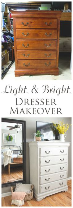 Dark and dreary dresser gets a light, bright makeover perfect for this cottage-style bedroom.