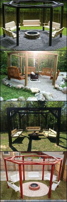 Love relaxing around a fire and also like the occasional gentle swing? This fire pit swing set combination is for you! These fire pit swing sets allow you to enjoy a gentle swing, and keeps you warm during cold nights. Backyard Swings, Fire Pit Backyard, Backyard Patio, Backyard Landscaping, Wedding Backyard, Outdoor Swings, Landscaping Design, Diy Patio, Backyard Seating