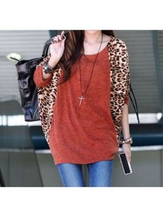 Loose Round Neck Long Batwing Sleeve Leopard Patchwork Cashmere T-shirt