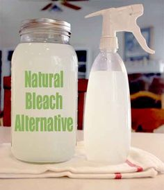 HomeMade Natural Bleach Alternative - via Grist:12 cups water 1/4 cup lemon juice 1 cup hydrogen peroxide Mix. Add 2 cups per wash load or put in spray bottle and use as a household cleaner