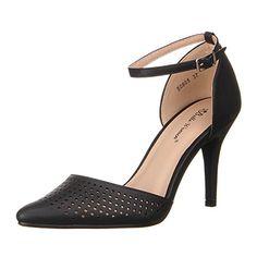 Damen Schuhe, 50865, PUMPS, LUFTIGE RIEMCHEN HIGH HEELS, Synthetik in hochwertiger Lederoptik, Schwarz, Gr 38
