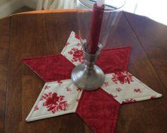País rojo y cremoso blanco vela estrellas acolchada alfombra Navidad o el año de francés