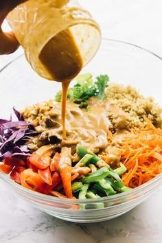 Cashew Thai Quinoa Salad with Peanut Ginger Sauce - Jessica In The Kitchen