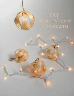 What an easy craft!  DIY Wood veneer ornaments  Project by http://northstory.ca