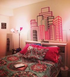 Washi tape Headboard wall in bedroom