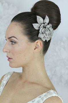 Glamorous Crystal Rose CombBridal hair comb by LavenderByJurgita, $89.00