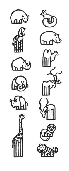Anatomy and form structure studies with the objective of creating pictograms for a future Zoo.
