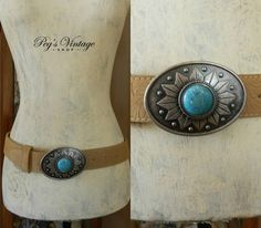 Trending Tan Leather Belt, Silver Buckle with Turquoise Stone, Turquoise Belt Buckle, Size M by PegsVintageShop on Etsy