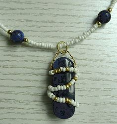beaded and wire wrapped sodalite