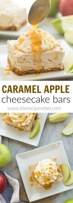 These Caramel Apple Cheesecake Bars are the perfect fall dessert! Loaded with thick caramel sauce, tender apples and covered in a cinnamon brown sugar cheesecake filling!