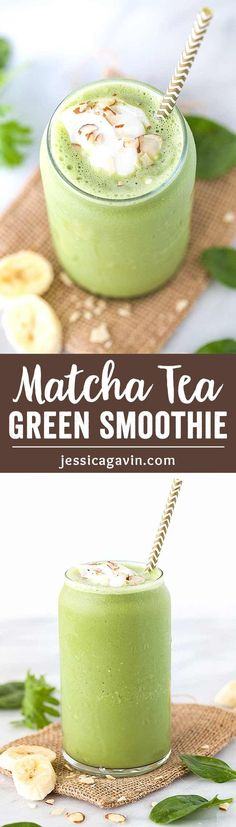 Super Green Smoothie with Matcha Tea- This easy smoothie recipe will energize you in an instant! A healthy blend of green tea, yogurt, almonds, banana, spinach and kale all in one delicious sip. @TruviaBrand #TasteTruvia #CB #ad via @foodiegavin
