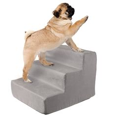 High Density Foam Pet Stairs 3 Steps with Machine Washable Zippered Removeable Micro-Fiber Cover with non-slip bottom by PETMAKER - Print on Gray Cat Stairs, Pet Steps, Cat Towers, Steps Design, Thing 1, Pets 3, Cat Care Tips, Cover Gray, Pet Accessories