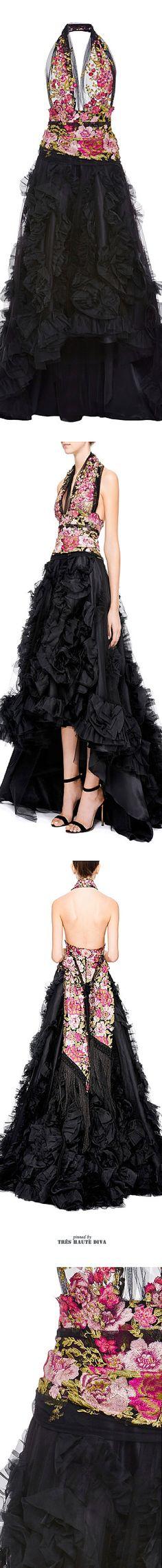 Marchesa Ruffled Organza Halter Gown SS 2015 ♔THD♔