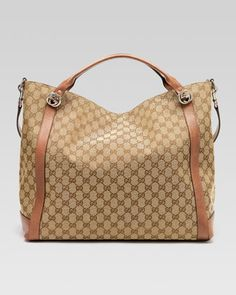 Miss GG Original GG Canvas Top Handle Bag, Tan by Gucci at Bergdorf Goodman. Gucci Purses, Gucci Handbags, Purses And Handbags, Gucci Bags, Gucci Gucci, Beautiful Bags, My Bags, Fashion Bags, Bag Accessories