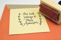 Hey, I found this really awesome Etsy listing at https://www.etsy.com/listing/213654921/book-plate-rubber-stamp-hand-lettered