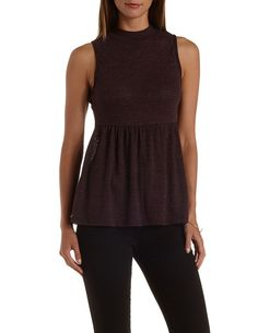 Sleeveless Mock Neck Babydoll Top by Charlotte Russe - Burgundy Cmb