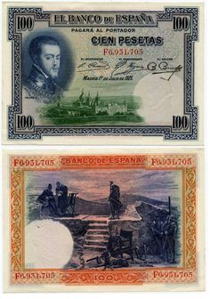 1925 Spain 100 Pesetas Republican Issue of 1936 Pick Number 69a Beautiful Crisp Uncirculated Banknote