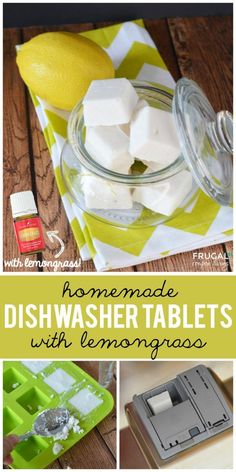 Homemade Dishwasher Tablets with Lemongrass on Frugal Coupon Living. Essential oil recipes and ideas. Replace with lemon if desired.