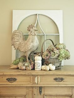 Love! Window pane, country rooster, hydrangea basket vignette.