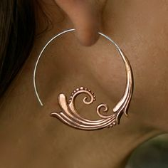 Flourish Hoops  Copper and Silver by Zephyr9 on Etsy, $36.00