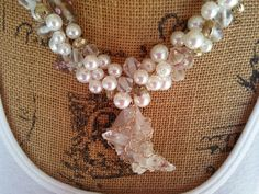 Are you ready to make a SERIOUS Statement with Jewelry?  Pearl & Quartz Bridal Statement Necklace, Handmade, Chunky, Bib, Collar, Wire Wrapped Necklace