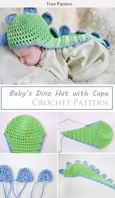 Baby's Dino Hat with Cape Crochet Free Pattern