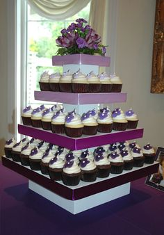 Purple flower cupcake tower
