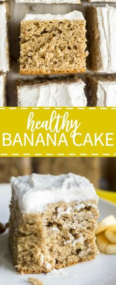 Healthy Banana Cake! You will no believe how easy and healthy is banana cake recipe is. It's butter free and refined sugar free and naturally sweet from the bananas. Top it with vegan coconut whipped cream frosting and your friends will be amazed! So moist and flavorful!