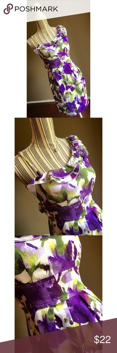 """Purple/Green/White Floral Dress w/Ruffles Belted Purple/Green/White Floral Dress w/Ruffles by Speechless. Size 7. Bust 33"""". Waist 27"""". Shoulder to hem length 32"""". Pockets on the sides. Worn once for a wedding. Speechless Dresses Mini"""