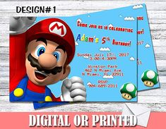 Amazon.com: Super Mario Personalized Birthday Invitations More Designs Inside!: Handmade Personalized Birthday Invitations, Birthday Party Invitations, Sms Text, Old Love, Print Store, Invitation Set, Make Design, Super Mario, Amazon