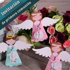 First Communion Invitation Video First Communion Decorations, First Communion Party, First Communion Invitations, Recuerdos Primera Comunion Ideas, Baby Girl Cakes, Christening, Crafts To Make, Cardmaking, Christmas Crafts