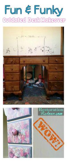 Desk Makeover. #plasterpaint #modpodge