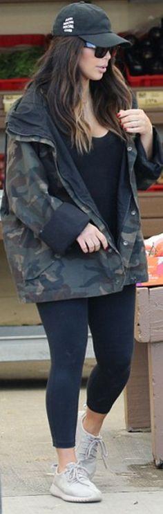 Kim Kardashian: Shoes and coat – Adidas  Hat – Anti Social  Pants – Lululemon  Sunglasses – Celine  Shirt – T by Alexander Wang