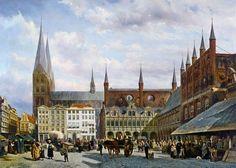 Cornelius Springer - Der Marktplatz zu Lübeck., 19 Jht.