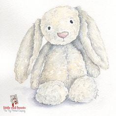 JellyCat Bashful Bunny Print from original by LittleRedBootsArt