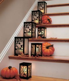 Fall decorating for stairway