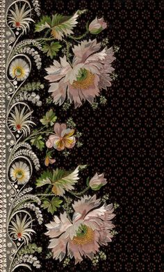 Embroidery sample for a man& suit 18001815 Silk embroidery on silk velvet; on view in Elaborate Embroidery: Fabrics for Menswear before 1815 at The Metropolitan Museum of Art February 2 July 19 Silk Ribbon Embroidery, Embroidery Stitches, Embroidery Patterns, Hand Embroidery, Machine Embroidery, Embroidery Books, Embroidery Blouses, Embroidery Materials, Embroidery Supplies