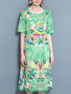 Hot saleElegant Bohemian Print Half Sleeve O-neck Dress For Women Cheap - NewChic Mobile