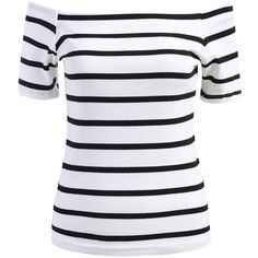 SheIn(sheinside) White Off the Shoulder Striped Slim Blouse (€5,16) ❤ liked on Polyvore featuring tops, blouses, shirts, white, collared shirt, white short sleeve blouse, white cotton blouse, short sleeve shirts en white collared blouse