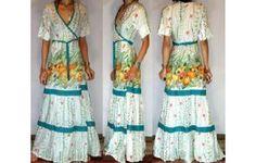 Vtg LIGHT COTTON WRAPAROUND MAXI DAY SUN DRESS