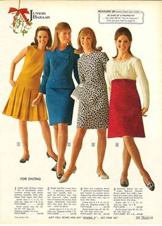 1960s Dresses & Skirts: Styles, Trends & Pictures knee length day dress office knit wool pleated skirt blue suit red white long sleeves sleeveless cotton red white gold yellow black floral