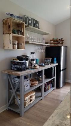 love this little kitchenette bar area made with a console plan and shelves! Rustic X beach beverage center Do It Yourself Home Projects from Ana White Home Projects, Kitchen Decor, Small Space Kitchen, Home Decor, New Kitchen, Home Kitchens, Home Diy, Diy Kitchen, Rustic Kitchen