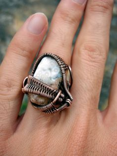 Copper Wrapped // Ocean Jasper // Turquoise // by Magickwrapper, $54.00